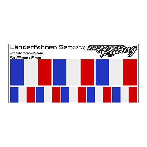 Finest-Folia 8 x Aufkleber Fahne Länderfahne Flagge RC Car Auto Motorrad Sticker Fahrrad Aufkleber Modellbau (R028 Frankreich)