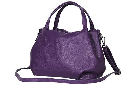 AmbraModa Damen handtasche Henkeltasche Schultertasche aus Echtleder GL023 (Lila)