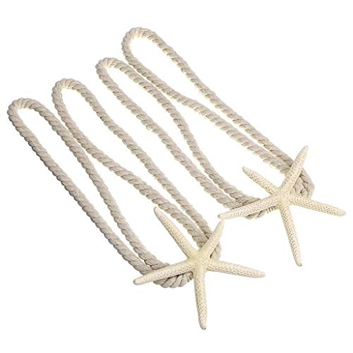 Sumnacon 2 Packs Natural Starfish Curtain Tiebacks Rope Curtain Tie Band with Cotton Rope for Home Office Decoration