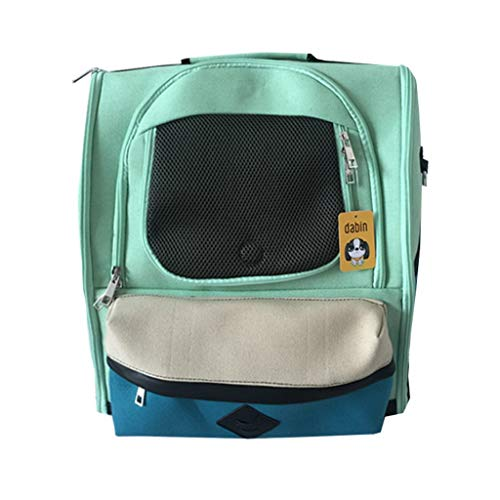 PLDDY Haustier Tasche Pet Bag Out Rucksack College Sail Bag Atmungsaktiver Katzenhund (grün) Lang 36 * Breite 21 * Höhe 41