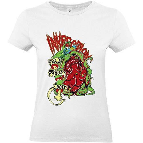 KreaMode - Camiseta de manga corta para mujer, diseño de corazón [Horror, garganta e infección] blanco medium