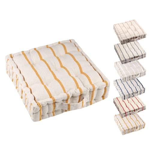 TIENDAEURASIA® Cojines de Suelo - 100% Algodón Lisa - Ideal para sillas, Bancos, palets, Suelos - Uso Interior y Exterior (Natural / Mostaza)