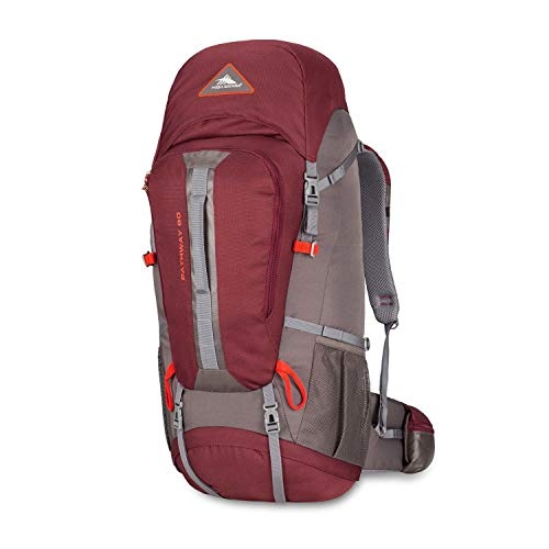High Sierra Pathway Internal Frame Hiking Pack, 60L, Cranberry/Slate/Redrock