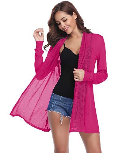 Abollria Damen Dünner Sommer Cardigan Leichte Luftige Strickjacke mit Schalkragen Casual Jacke für Alltag und Urlaub,Fuchsia Rose,XL