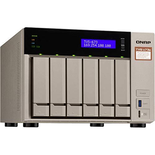 QNAP Turbo NAS TVS-673e NAS Storage, AMD RX-421BD, 64GB DDR4, 4TB SSD for Ultra Fast Storage, 48TB HDD, Radeon R7 Graphics, RAID, QNAP QTS 4.3 Operating System