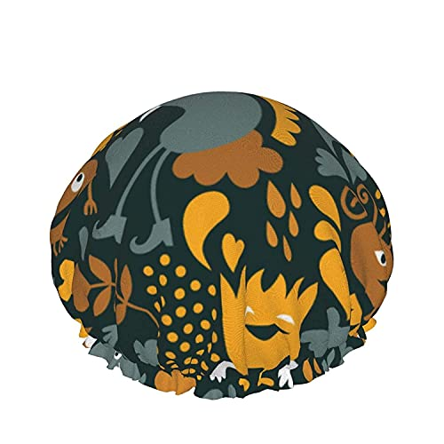 Double Layers Shower Cap,colored Rainbow Cat Or Dog Paw Prints On Black Background,Reusable Waterproof Elastic Bath Caps for All Hair Lengths-style07-1pcs