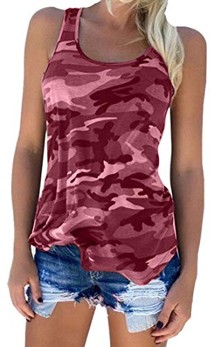 Zcavy Women's Camo Tank Tops Stretchy Workout Shirt Lightweight Gym Tanks Teen Tank Tops Athletic Shirts Camouflage Tank Tops Exercise Tee Shirts Camo Racerback Active Tank Tops for Women Red M
