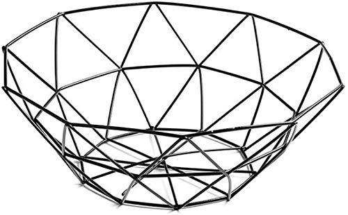 Met Love Frutero geométrico de alambre para frutas, cesta de almacenamiento de metal, color negro, para decoración de mesa de verduras (color: negro, tamaño: 13,5 cm)