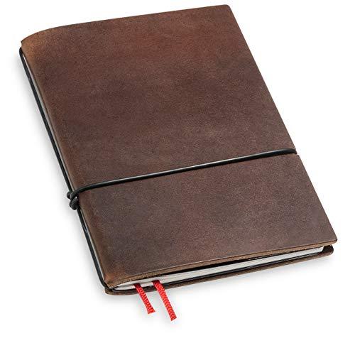 A6, revolutionär und 9 mm dünn! X17-Notizbuch! Leder, braun, marone, Innen: Notizheft (blanko) + Doppeltasche + Lesezeichen; austauschbar=nachhaltig! Made in Germany, 17 Jahre Garantie*
