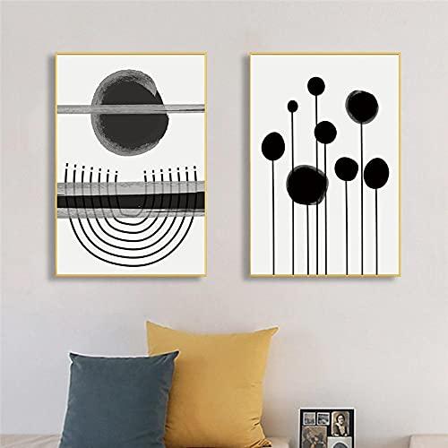 SGFG Pintura de Lienzo Abstracta geométrica línea de Tinta Negra Cartel de Arte de Pared e imágenes Impresas minimalismo Sala de Estar decoración del hogar 50x70cmx2 sin Marco
