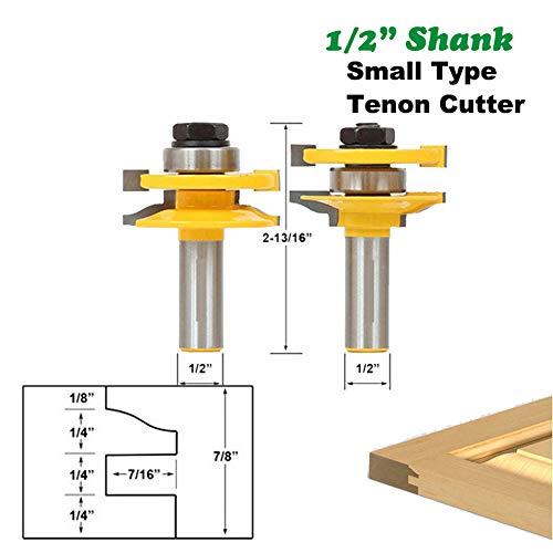 2 Stuks 12,7 Mm 1/2 Shank Door Panel Cabinet Tenon Router Bit Set Frees Voor Houtbewerking Cutter Zagen Van Hout Gereedschap 03015