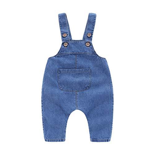 Wootbees Enfants Bébés Garçons Filles Bouton Jeans sans Manches Salopette Denim Dungarees Dos Nu Jumpsuit Pantalons Tenues Vêtements Ensemble