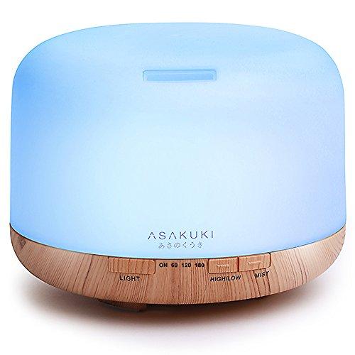 ASAKUKI Premium-Diffuser für ätherisches Öle, 5-in-1, Ultraschall-Aromatherapie, Duftöl-Verdampfer, Luftbefeuchter, Timer, Auto-Aus-Sicherheitsschalter, 7 Lichtfarben, LED, 500ml, ASKDF0110, Romantisch, Groß, 1