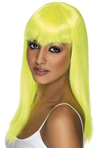 Elegante peluca amarilla con brillo y flequillo