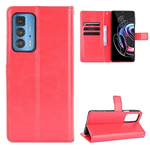 MingMing Lederhülle für Motorola Edge 20 Pro Hülle, Flip Hülle Schutzhülle Handy mit Kartenfach Stand & Magnet Funktion als Brieftasche, Tasche Cover Etui Handyhülle für Motorola Edge 20 Pro, Rot