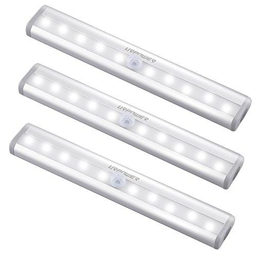 URPOWER Motion Sensor Light Indoor, 10 LED Motion Sensor Closet Lights Battery Operated Magnetic Under Cabinet Lights Strip Wireless Stick Up Night Lights Bar for Closet Kitchen Hallway Stair (3 Pack)