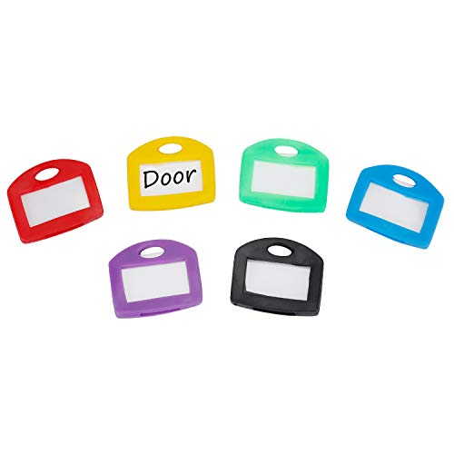 Uniclife Key Cap Tags 24 Pack 6 Assorted Colors Key ID Ring Covers with Blank Label