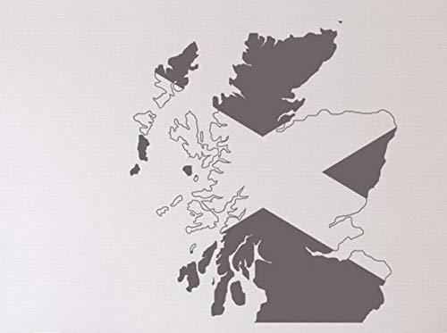 Axlgw grote Schotland kaart muur Sticker Klas Kantoor Schotland kaart auto Laptop muur Decal slaapkamer woonkamer Decor Grootte 45Cmhighx41Cmwide