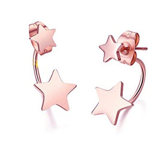 findout signore 14K oro rosa placcato titanio acciaio orecchini fortunati pentagramma stelle, per le donne le ragazze, (F1602)