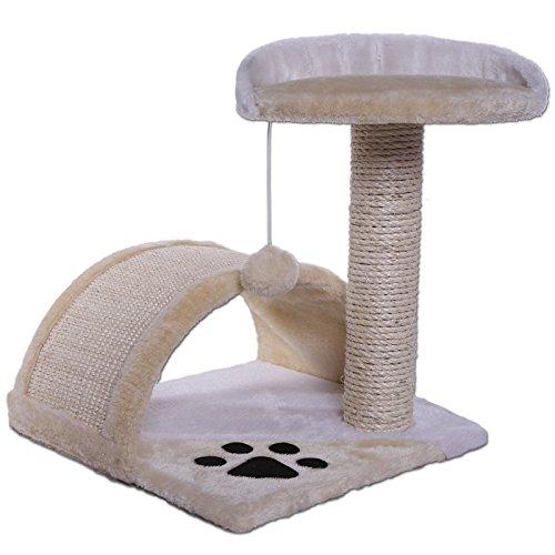 Dibea KB00103 Árbol para Gatos, Rascador Pequeño, Altura 43 cm, Color Beige y Blanco