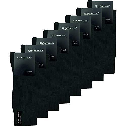 GAWILO Herren Socken aus 100prozent Baumwolle (8er-Pack) ohne drückende Naht - Komfortb& (43-46, schwarz)