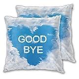 LISNIANY Funda Cojin 2 Fundas,Adiós en Forma de Nube y patrón de Forma de corazón en Cielo Azul Claro,Muy Suave,Funda de Almohada,Dormitorio y Sala de Estar,con Cremallera