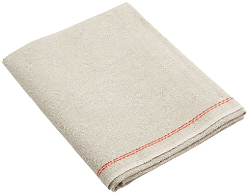 Premium Professional Bakers Couche - 100% Flax Linen Heavy Duty Proofing Cloth from Tissage Deren of France, 26x24 Inch, the Original Red Stripe Signature Couche by BrotformDotCom