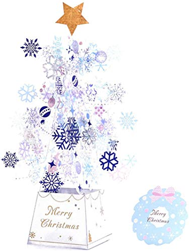 HHYSPA 3D Card Pop-Up Card Christmas Greeting Card Christmas Card Stars Xmas Gift for Wife Mother Friends, Christmas Tree blue