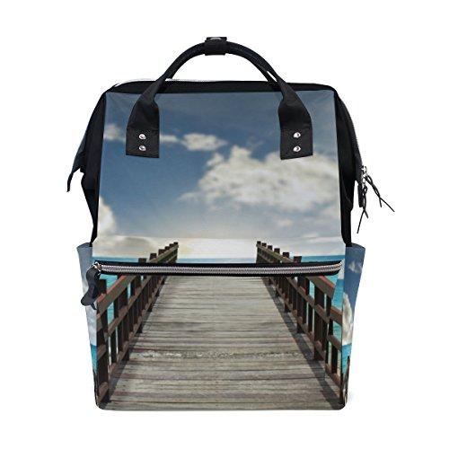 COOSUN Tropical Landscape Bridge Into Sea Nappy veranderende tas luier rugzak met geïsoleerde zakken wandelwagen banden, grote capaciteit multifunctionele stijlvolle luiertas voor mama papa outdoor