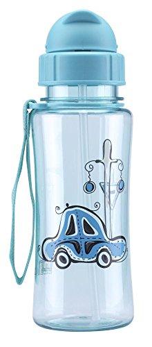 Culinario Trinkflasche Kid's Fun aus Kunststoff, 460 ml, in blau, Schraubverschluss mit Schutzkappe, integrierter Strohhalm, mit Trageschlaufe