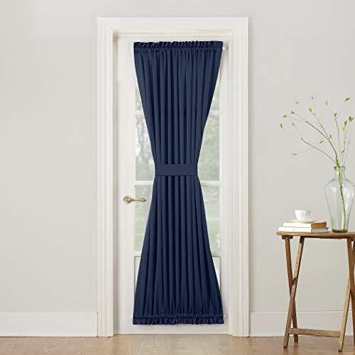 """Sun Zero Barrow Energy Efficient Door Panel Curtain with Tie Back, 54"""" x 72"""", Navy Blue"""
