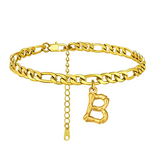 PROSTEEL Cuban Link Anklets for Women Letter B Figaro Link Ankle Bracelet Gold Plated