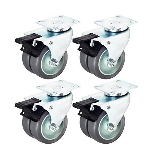 RONGJJ 3-Zoll-360-Grad-Möbelrollen Gummiräder Schwenkbare Plattenrollen Für Möbelersatzräder Schrauben Im Lieferumfang Enthalten 4er-Set (2 Aktiv + 2 Bremsen), 4 Brake
