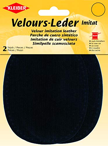 Kleiber Velour-Leder Imitat, Nachtblau, 13 cm x 10 cm