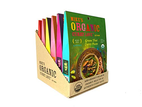 Variety 6 Pack of Curry Pastes ORGANIC | case of 6 x 2.8 oz pouches | 1 x Green Thai Curry | 1 x Penang Curry | 1 x Massaman Curry | 1 x Red Thai Curry | 2 x Yellow Thai Curry