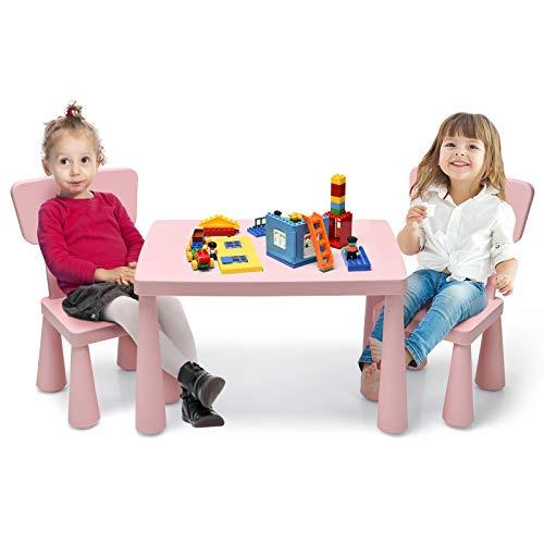COSTWAY 3 TLG. Kindersitzgruppe, Kindertischgruppe, Kindertisch mit 2 Stühlen, Kindermöbel aus Kunststoff, Kinder Tischset für Kindergarten und Kinderzimmer (Rosa)