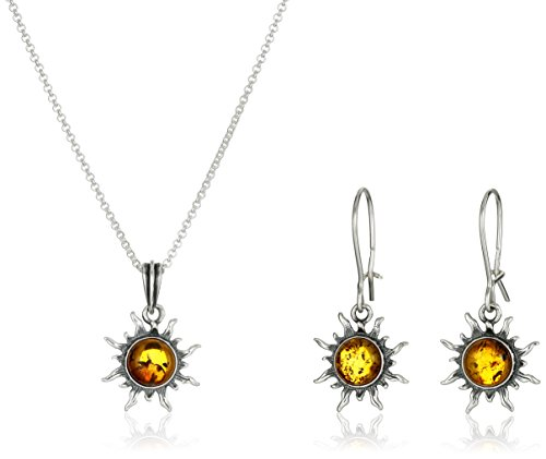 Hot Sale Sterling Silve and Honey Amber Flaming Sun Earrings and Pendant Necklace Set, 18""