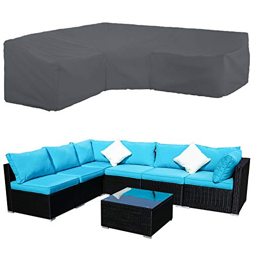STARTWO Patio V-Shaped Sectional Sofa Cover, Patio Sectional Furniture Cover Waterproof Outdoor Sofa Cover L-Shaped Garden Couch Protector 100
