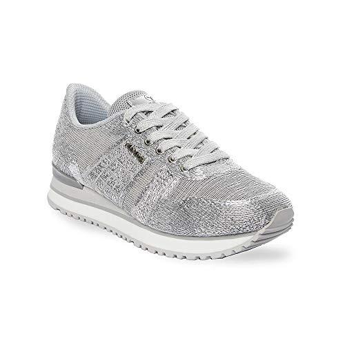Zapatilla Sneaker Yumas VARSOVIA Plata Fabricado en Nylon Transpirable Plantilla Confort Látex para Mujer