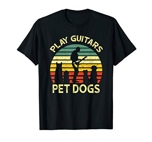 Play Guitars Player Pet Dogs Tees Funny Vintage Distressed T-Shirt