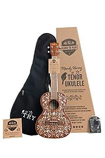 scheda kala kit básico oficial para aprender a tocar el ukelele tenor de la serie signature mandy harvey de kala de caoba satinada (kala-ltp-mh)