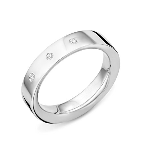 MIORE Ladies 925 Sterling Silver Zirconia Wedding Band - Size L