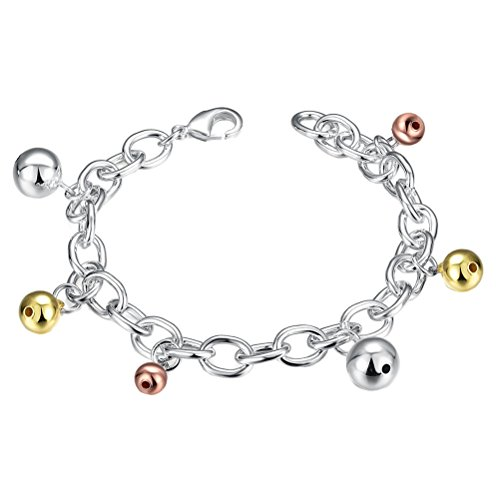 PAURO Mujer Mancuerna Cromada Plata Perlas Enlace Naranja Oro Cadena Langosta Pulseras