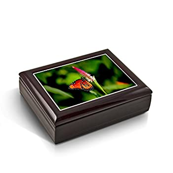 A Radiant Colorful Monarch Butterfly Tile Musical Jewelry Box - Many Songs to Choose - Don t It Make My Brown Eyes Blue