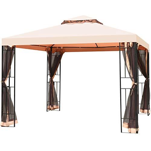 Tangkula 10x10 Feet Patio Steel Gazebo, Large Outdoor Canopy Gazebo with Netting, Zippers & 2 Tier Vented Roof, Steel Canopy Gazebo for Patio, Yard, Garden
