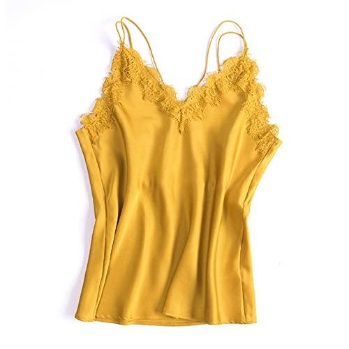 YQY Camisolas de Tanque de Las Mujeres Seda Recortada con Encaje de Flores en el Cuello en V Cuello sin Mangas Ultra Suave,Amarillo,XL