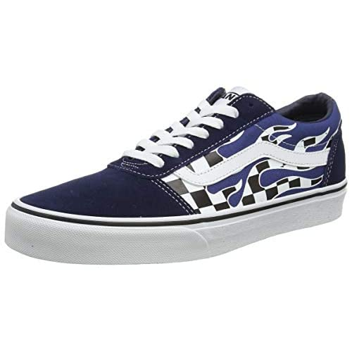 Vans Ward Suede/Canvas, Scarpe da Ginnastica Uomo, Multicolore ((Flame Check) Dress Blues/White WD6), 42 EU