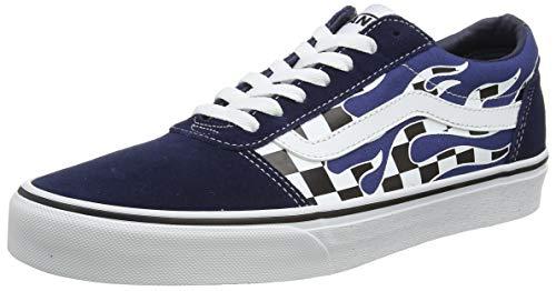 Vans Herren Ward Canvas Sneaker, Mehrfarbig ((Flame Check) dress blues/white WD6), 40 EU