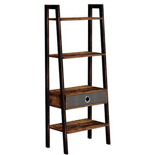 Rolanstar Ladder Shelf with Drawer, Rustic Ladder Bookshelf, 4-Tier Utility Organizer Shelves, Stable Metal Frame, for Living Room, Office Room, Rustic Brown