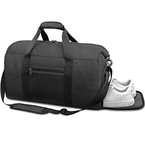 NEWHEY Sporttasche Herren mit Schuhfach Reisetasche Gym Fitness Handgepäck Groß Weekender Trainingstasche für Männer Frauen 40 Liter Schwarz